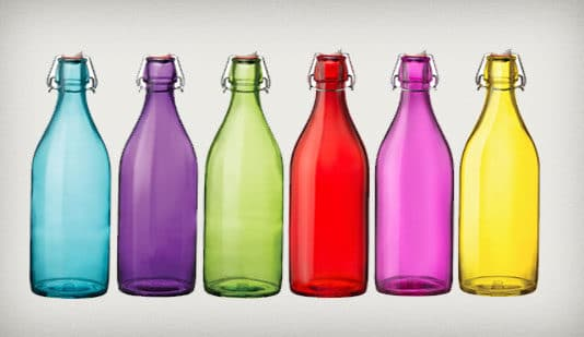 colored water bottles